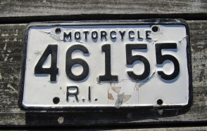 Rhode Island Motorcycle License Plate 1960's White Black