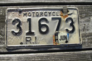 Rhode Island Motorcycle License Plate 1984 White Black