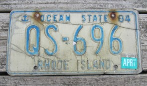 Rhode Island Blue White License Plate Ocean State 1998