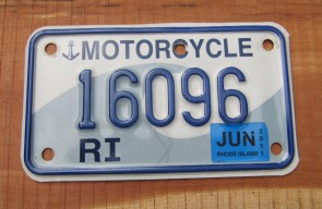 Rhode Island Motorcycle License Plate Ocean Wave 2011
