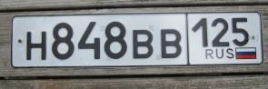Russia Flag License Plate Primorsky Krai H 848 BB 125
