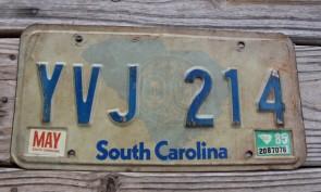 South Carolina State Outline License Plate 1985