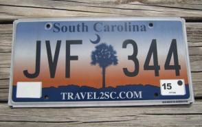 South Carolina Travel 2 SC Sunset License Plate 2015