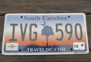 South Carolina Travel 2 SC Sunset License Plate 2015