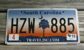 South Carolina Travel 2 SC Sunset License Plate 2013