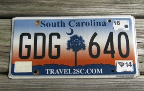 South Carolina Travel 2 SC Sunset License Plate 2016