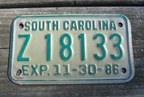 South Carolina Motorcycle License Plate Green White 1986