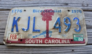 South Carolina Bicentennial Palm Tree License Plate 1980 Civil War Cannon