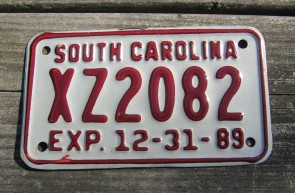 South Carolina Motorcycle License Plate Dealer 1989