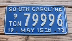 South Carolina 9 Ton Truck License Plate 1976