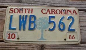 South Carolina Palm Tree License Plate 1986