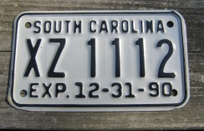 South Carolina Motorcycle License Plate Dealer 1990