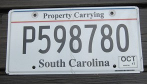 South Carolina Truck License Plate Property Carrying 2017