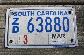 South Carolina Motorcycle License Plate 2017