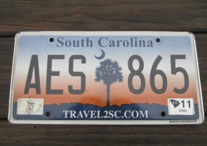 South Carolina Travel 2 SC Sunset License Plate 2011