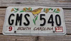 South Carolina Wren License Plate 1998