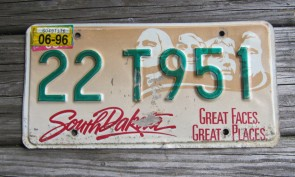 South Dakota Great Faces Great Places License Plate Mount Rushmore 1996