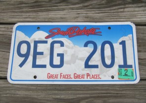 South Dakota Great Faces Great Places License Plate 2015