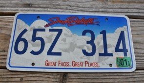 South Dakota Great Faces Great Places License Plate 2009