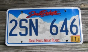 South Dakota Great Faces Great Places License Plate 2012