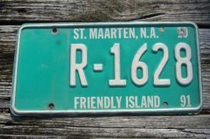 Saint ST Maarten The Friendly Island License Plate 1991