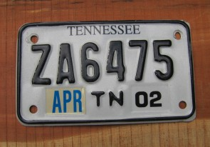 Tennessee Motorcycle License Plate 2002