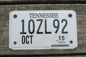Tennessee Motorcycle License Plate 2015
