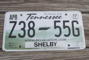 Tennessee Green Rolling Hills License Plate 2017 Shelby County Z38 55G