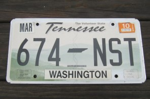 Tennessee Green Rolling Hills License Plate 2010 Washington County TN
