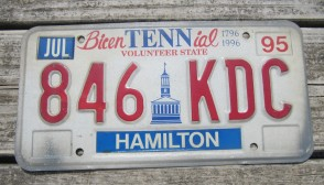 Tennessee Bicentennial License Plate 1995
