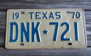 Texas Blue White License Plate 1970