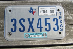 Texas Motorcycle License Plate 2009