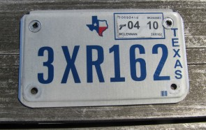 Texas Motorcycle License Plate 2010
