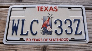 Texas Star License Plate 150 Years of State Hood