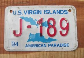 US Virgin Islands Motorcycle License Plate America's Caribbean Paradise 1994
