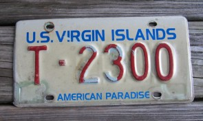 US Virgin Islands License Plate American Paradise 1990's