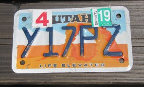 Utah Motorcycle License Plate Life Elevated Arch 2019