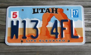 Utah Arch Life Elevated License Plate 2017