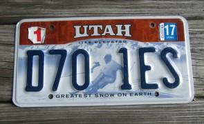 Utah Life Elevated Skier License Plate 2017 Greatest Snow on Earth