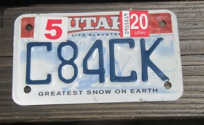Utah Motorcycle License Plate Life Elevated Greatest Snow On Earth 2020