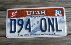 Utah Life Elevated Skier License Plate 2017 Greatest Snow on Earth