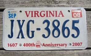 Virginia Jamestown 400th Anniversary License Plate 2008