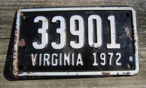 Virginia Motorcycle License Plate Black White 1972