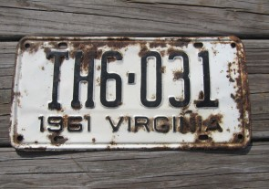 Virginia White Black License Plate 1961