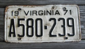 Virginia White Black License Plate 1971