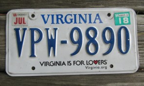Virginia is For Lovers License Plate. 2018 Virginia.org