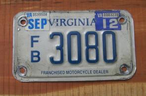 Virginia Motorcycle License Plate Franchised Motorcycle Dealer 2012