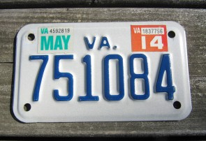 Virginia Motorcycle License Plate 2014