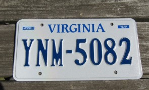 Virginia White Blue License Plate