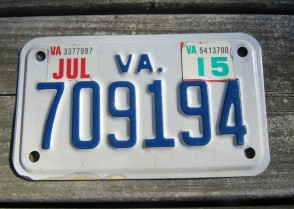 Virginia Motorcycle License Plate 2015